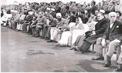 Dr. B. R. Ambedkar among other dignitaries at India�s first Republic Day parade