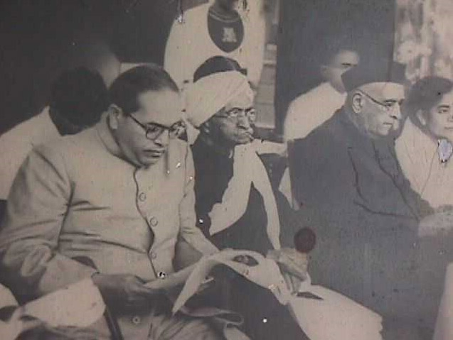 Dr. Ambedkar with the Governor of Maharashtra, Mr. Mangaldas Pakwasa, Rao Bahadur Bole and Prof. V. G. Rao