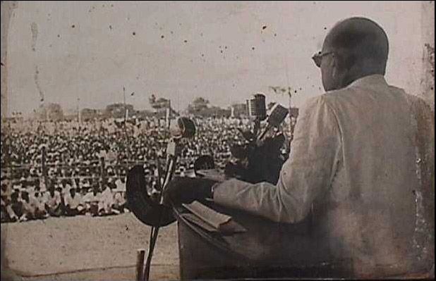 Dr. Ambedkar addressing the gathering on Buddhism, at Diksha Bhoomi Nagpur on 15.10.1956