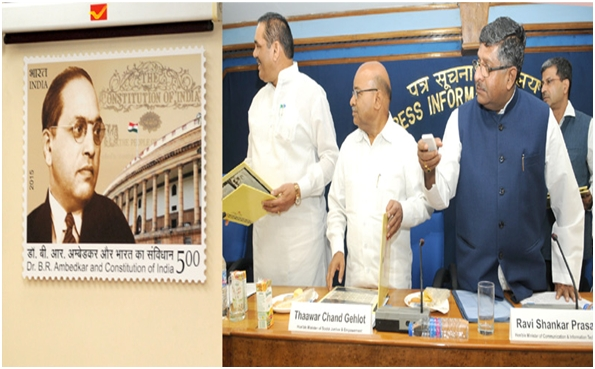Stamp release photograph on the occasion of 125th Birth Anniversary of Dr. Ambedkar